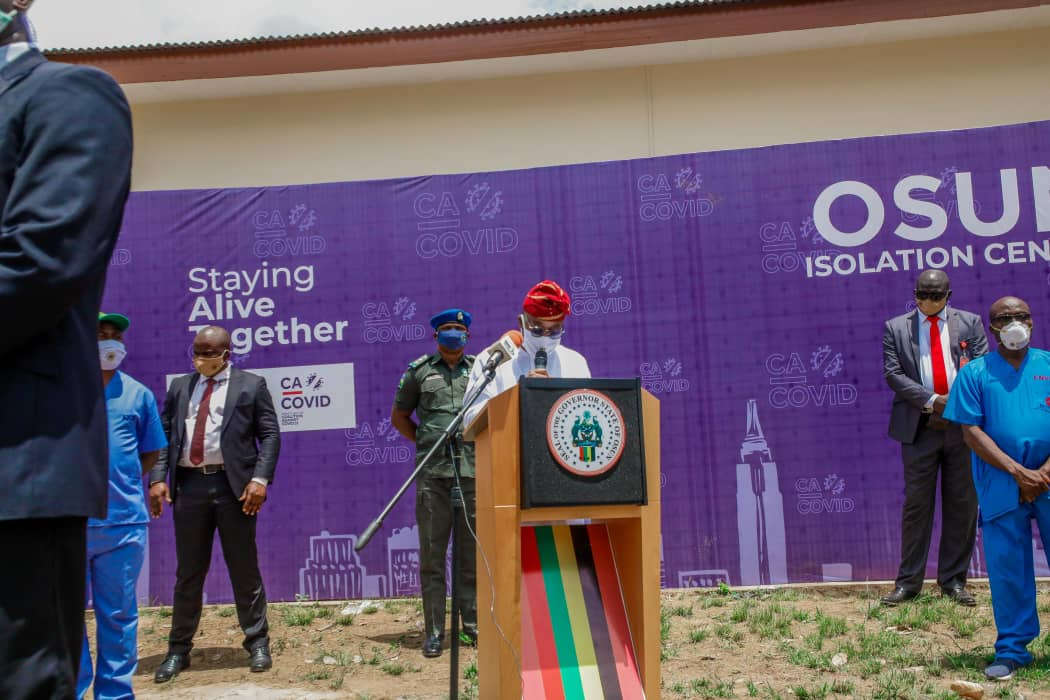 COVID-19: Governor Oyetola commissions 160-bed Isolation Centre equipped by CA-COVID in Osogbo